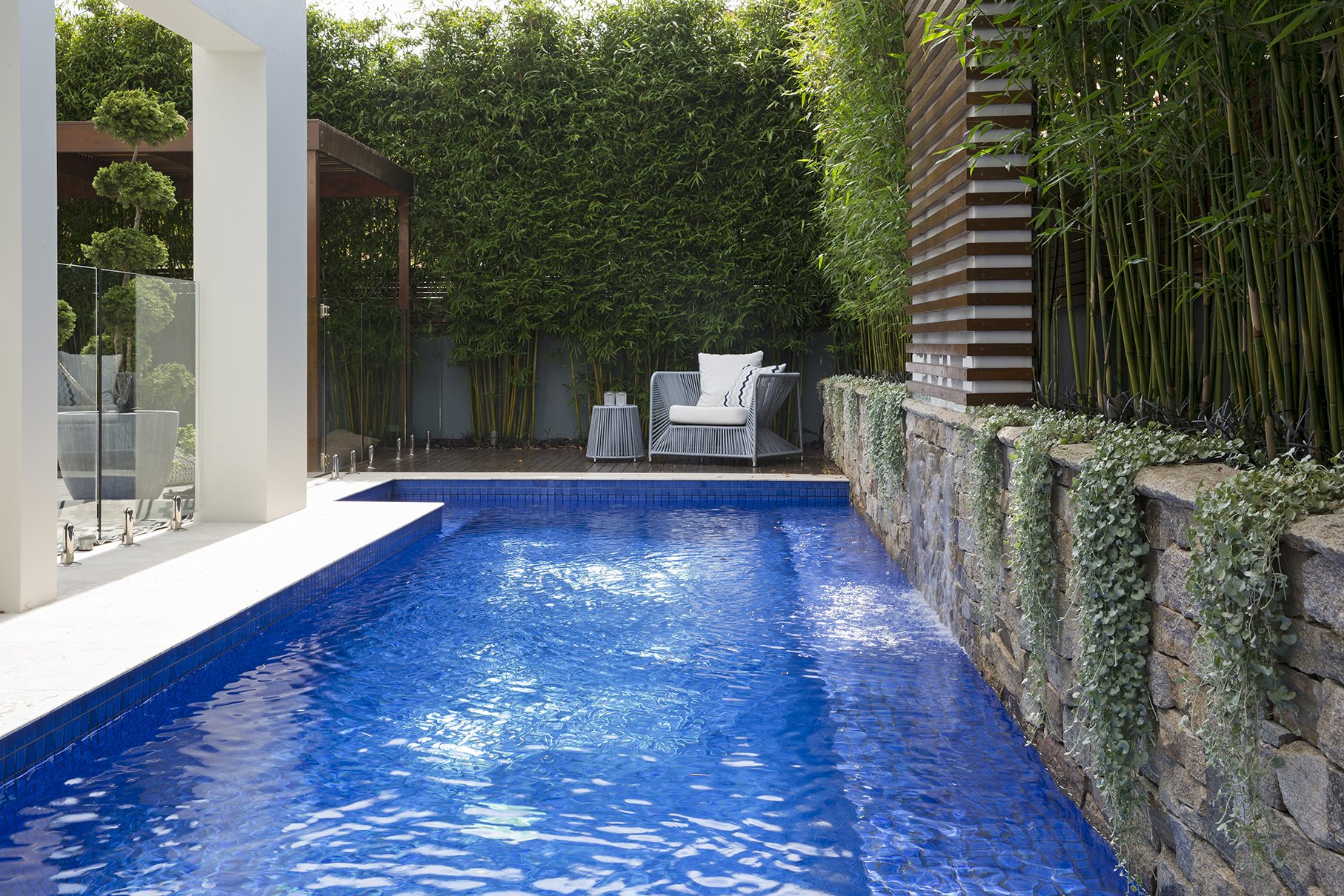In ground pool design with timber decking