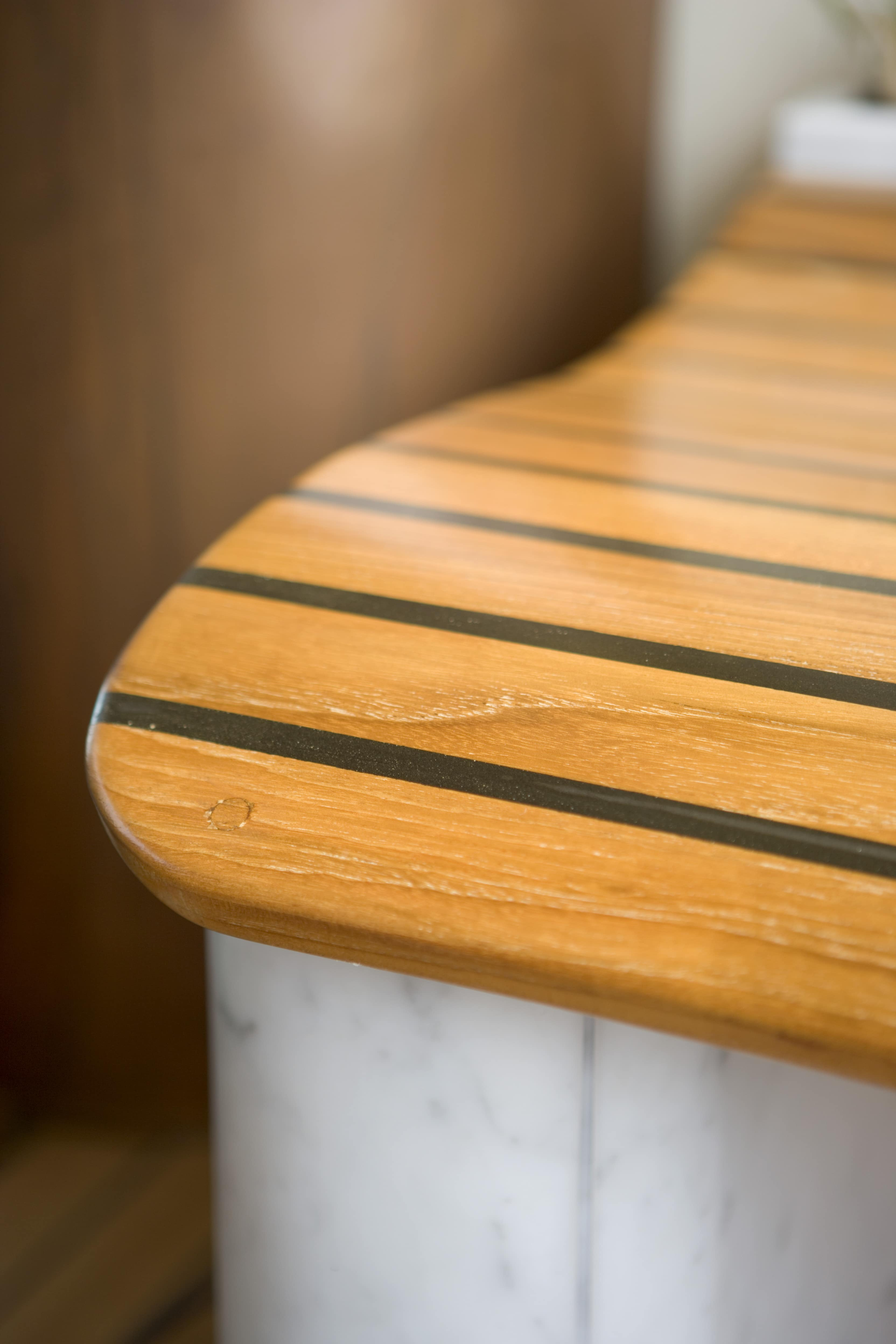 Close up of the edge of a timber design